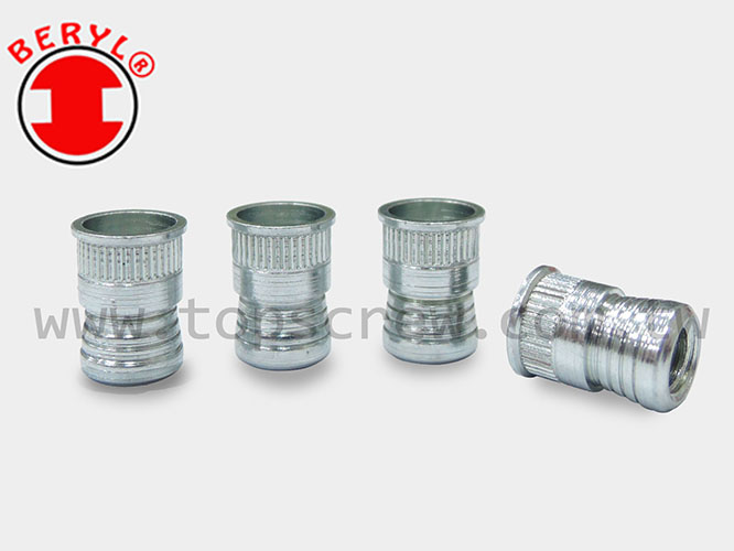 knurled threaded insert,threaded insert,nut insert,insert,top screw,blind rivet nut ,rivet nut,top screw,fasteners,metal forging,rivet nut manufactory,manufacture